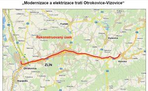 Modernizace trati Otrokovice - Vizovice. Pramen: SŽDC, dokumentace EIA