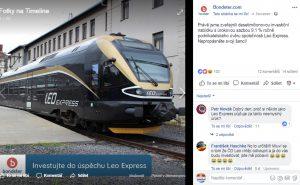 Nabídka na financování Leo Express na facebookovém profilu Bondster. Foto: Facebook
