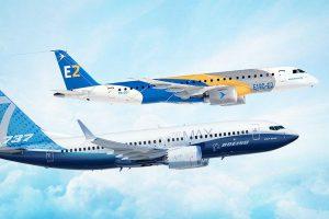 Embraer E2 a Boeing 737, vlajkové lodi v oblasti úzkotrupých letadel obou výrobců. Foto: Boeing
