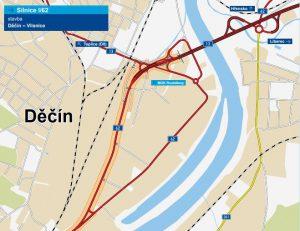Trasa nové přeložky silnice I/62 v Děčíně. Foto: ŘSDTrasa nové přeložky silnice I/62 v Děčíně. Foto: ŘSD