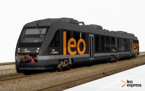 Jednotka LINT v barvách Leo Expressu. Pramen: Leo Express