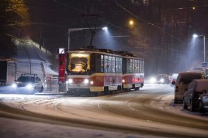 Tramvaj T6A5 na lince 11 v zastávce Pod Karlovem v Praze. Autor: DPP