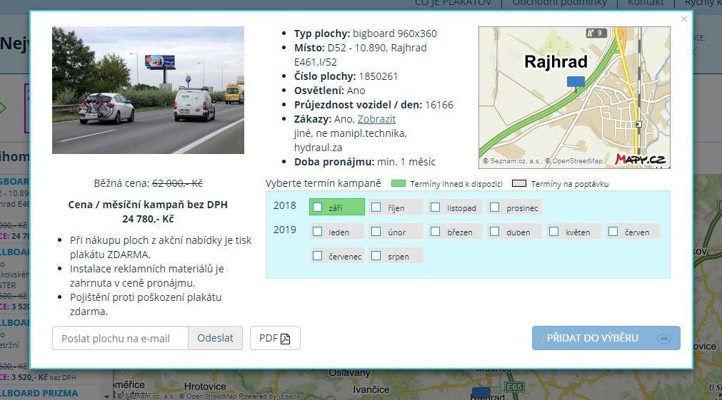 Nabídka reklamní plochy v ochranném pásmu dálnice na www.plakatov.cz