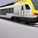 Vizualizace jednotek Stadler Flirt pro provoz v okolí Stuttgartu. Pro trať k Bodamskému jezeru mají být vlaky v modro-bílém nátěru. Foto: Stadler