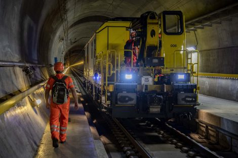Údržba v Gotthardském tunelu. Foto: SBB