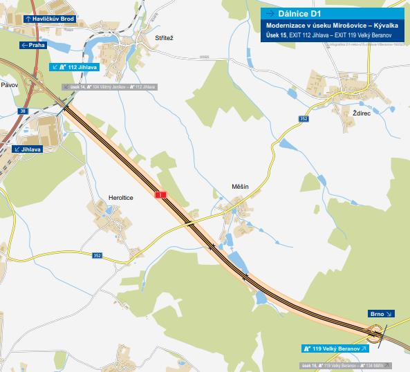 Mapa trasy úseku 15 na D1 mezi Jihlavou a Velkým Beranovem. Foto: ŘSD