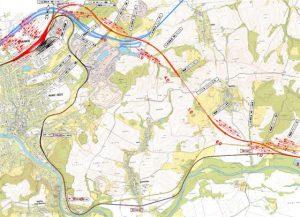 Mapa trasy s tunely z Hranic na Moravě do Milotic nad Bečvou. Foto: SŽDC