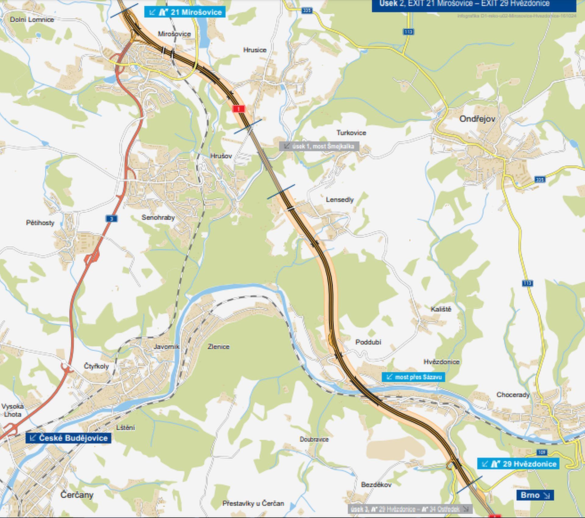 Mapa modernizovaného úseku D1 Mirošovice - Hvězdonice. Foto: ŘSD