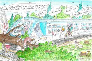 Ukázka z chystané podzimní kampaně OSŽ. Pramen: OSŽ/kresba: Petr Urban