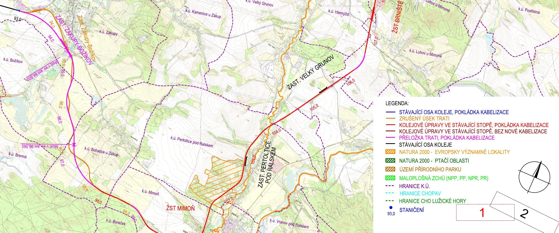 Zákres revitalizace trati 086 mezi Libercem a Českou Lípou v úseku mezi Mimoní a Zákupy, kde má vzniknout přeložka. Foto: SŽDC