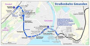 Tramvajový systém města Gmundem včetně prodloužení přes řeku Traun. Pramen: By Maximilian Dörrbecker (Chumwa) - Own work, using OpenStreetMap data for the background, CC BY-SA 2.0, https://commons.wikimedia.org/w/index.php?curid=15884297