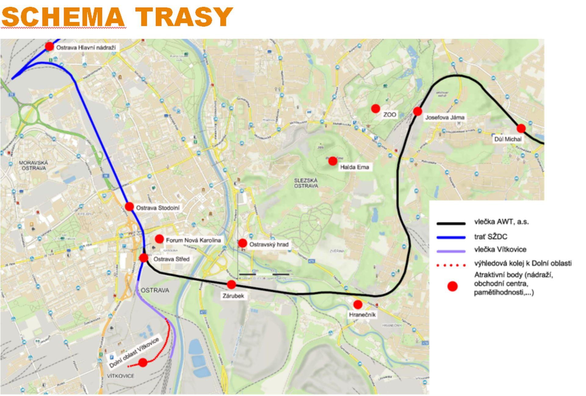 Schéma trasy možného nového osobního železničního spojení v Ostravě. Foto: Statutární město Ostrava