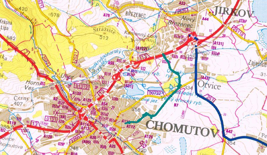 Trasa nové spojky v Chomutově (zeleno-modrá barva). Foto: Ústecký kraj