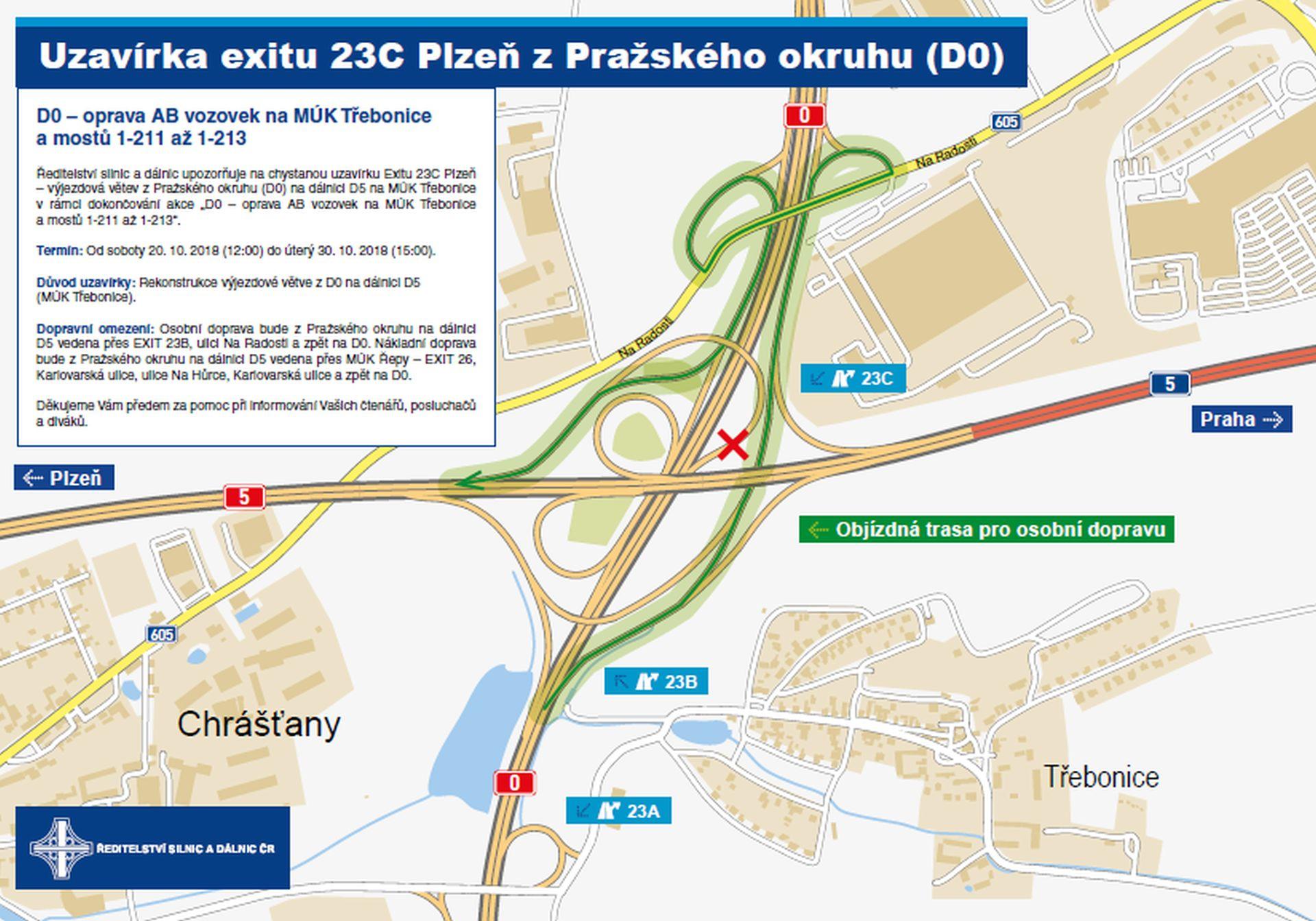Objízdná trasa pro uzavírku exitu 23C spojující D0 a D5 pro osobní auta. Foto: ŘSD