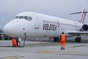 Boeing 717 společnosti Volotea. Foto: Aéroport de Bordeaux - FBlazquez