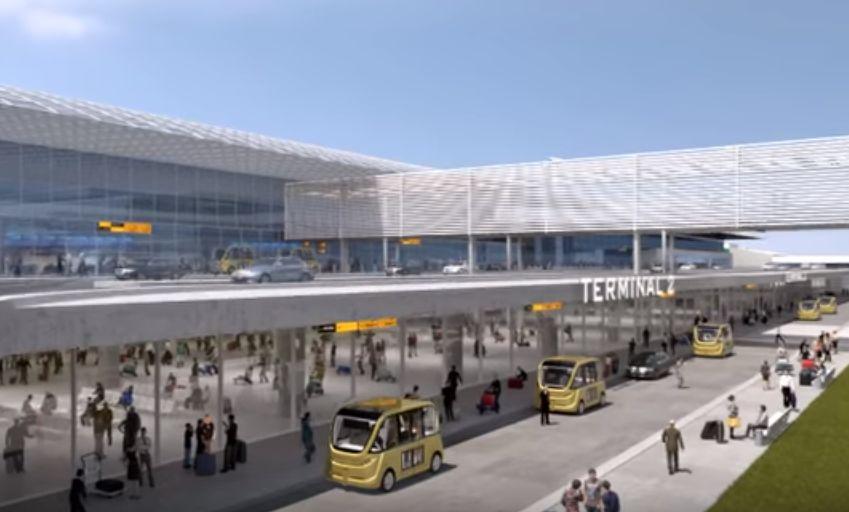Autonomní minibusy na pražském letišti. Vizualizace: Letiště Praha