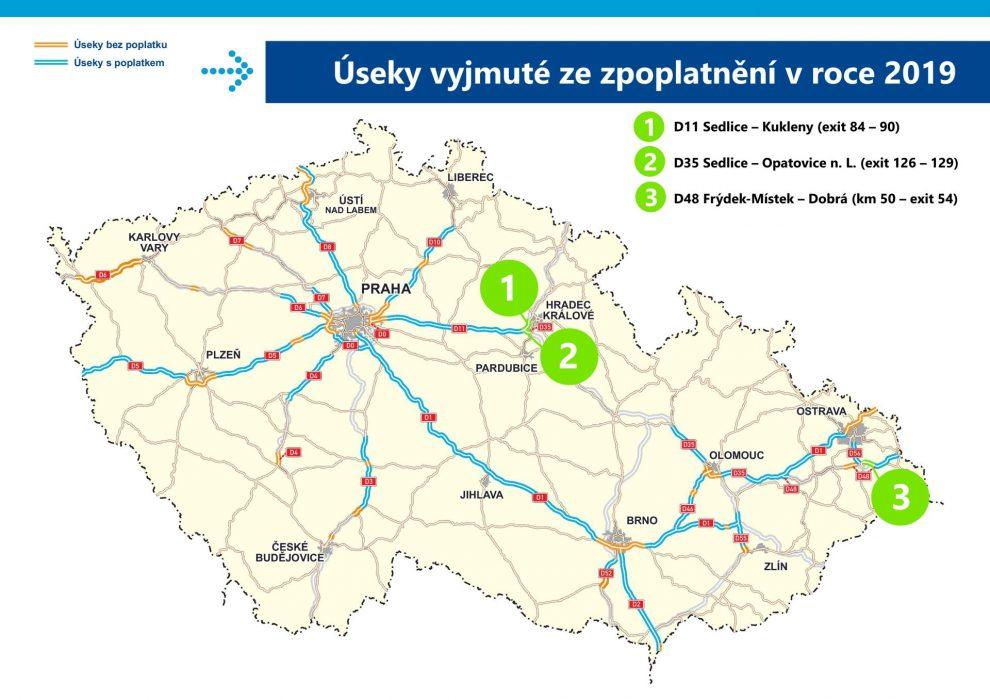 Nové úseky dálnic, které budou osvobozeny od dálniční známky. Foto: MDČR