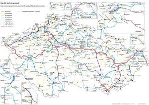 Mapa rychlostí na české železnici. Pramen: SŽDC