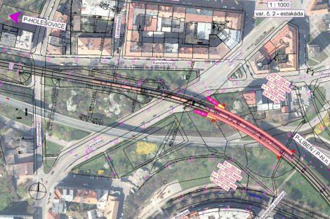 Situační plán zastávky U Kříže - varianta na estakádě. Foto: Cedop