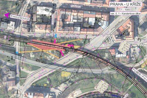 Situační plán zastávky U Kříže - varianta u Kandertovy ulice. Foto: Cedop