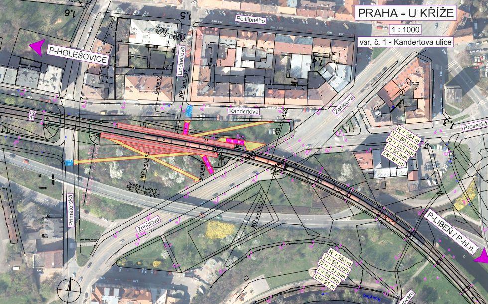 Situační plán zastávky U Kříže – varianta u Kandertovy ulice. Foto: Cedop