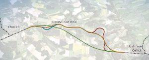 Koridor Choceň - Ústí nad Orlicí. Červeně stávající trať, zeleně varianta se dvěma tunely. Pramen: SŽDC