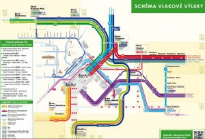 Schéma velké vlakové výluky v Brně. Pramen: KORDIS JMK