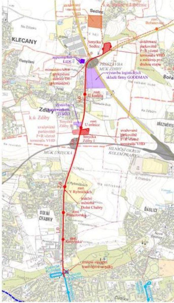 Trasa nové tramvajové trati z Kobylis do Zdib (Sedlce). Foto: Praha.eu