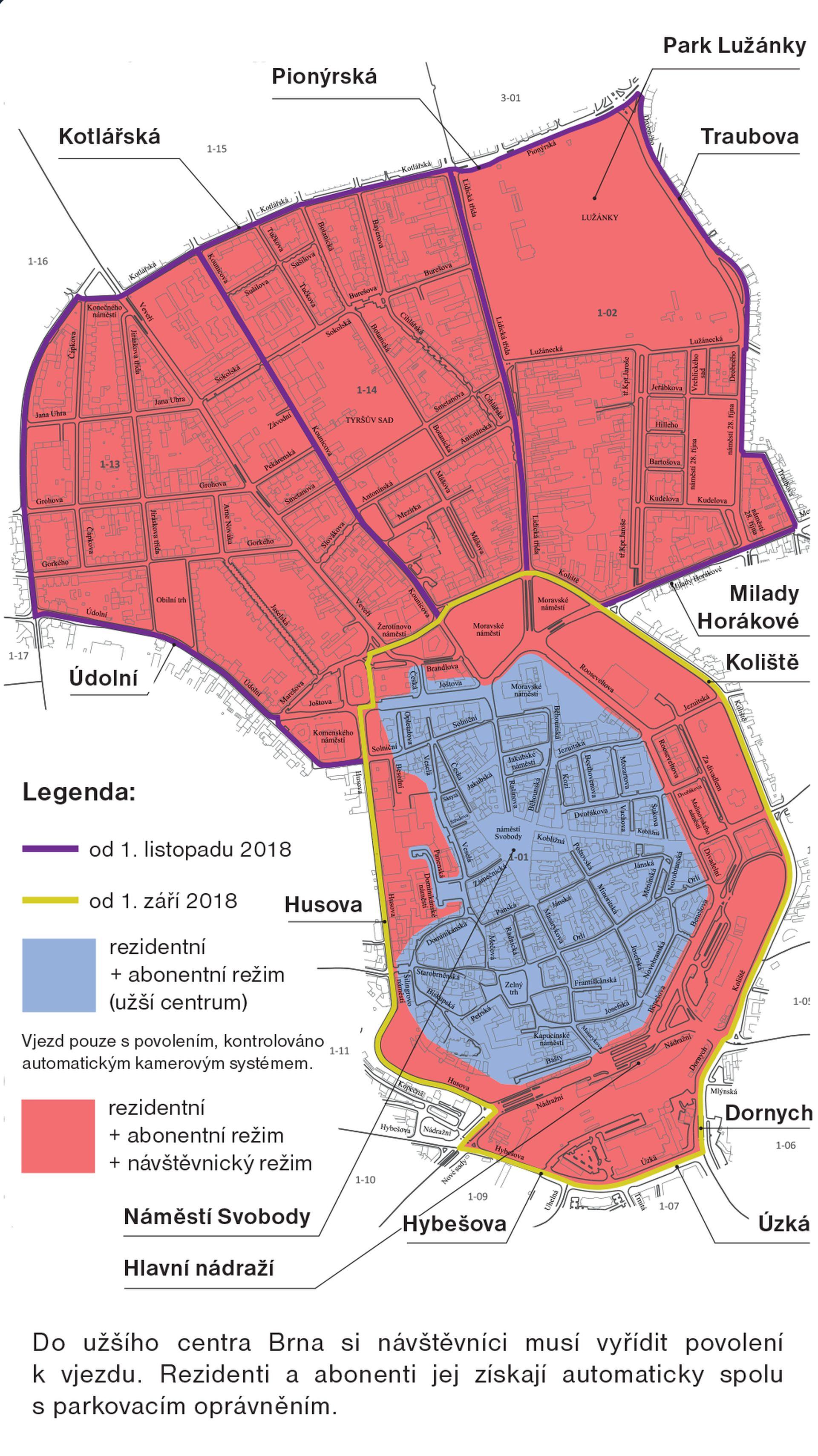 Mapa zón placeného stání v Brně. Foto: www.parkovanibrne.cz