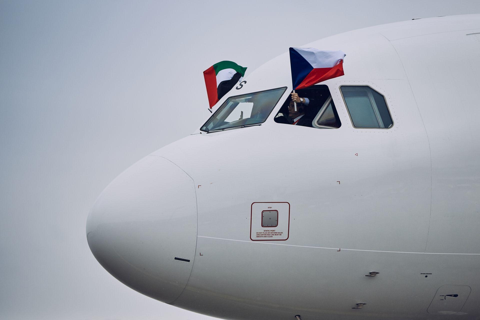Letadlo Air Arabia poprvé v Praze. Pramen: Letiště Praha