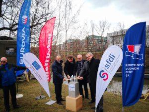 Zahájení modernizace plavební komory Štvanice. Pramen: ŘVC
