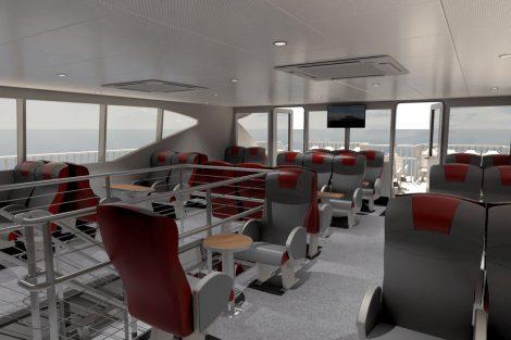 Nový katamaran pro linku Vídeň - Bratislava, interiér Captain's Lounge. Pramen: Twin City Liner