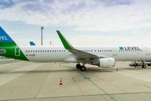 Airbus A321 společnosti LEVEL ve Vídni. Foto: Letiště Vídeň