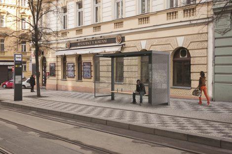 Návrh nových pražských zastávek, 2. cena, Studio Herrmann & Coufal. Pramen: IPR Praha