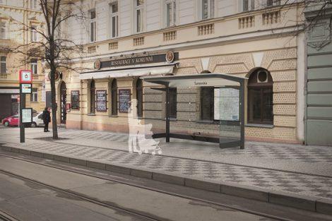 Návrh nového vzhledu pražských zastávek, 3. cena, Divan design. Pramen: IPR Praha