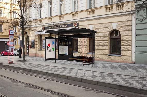 Návrh nového vzhledu pražských zastávek, 5. cena, vin vin studio. Praamen: IPR Praha
