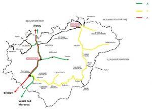 Železniční síť Zlínského kraje. Pramen: Zlínský kraj