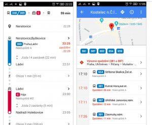 Data o jízdních řádech a mimořádnostech v aplikaci Mapy Google. Foto: Ropid