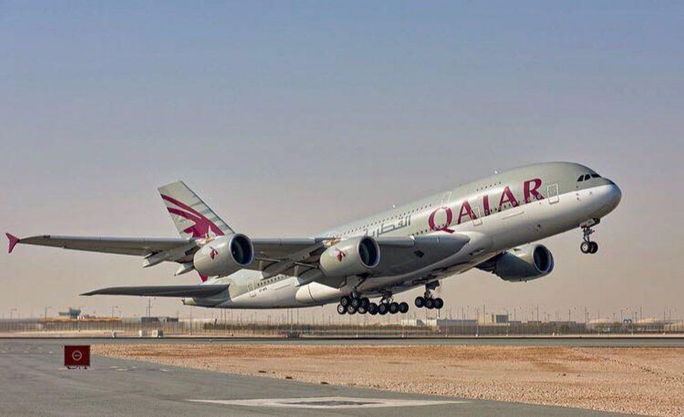A380 společnosti Qatar Airways na vzletu z Dauhá. Foto: Qatar Airways