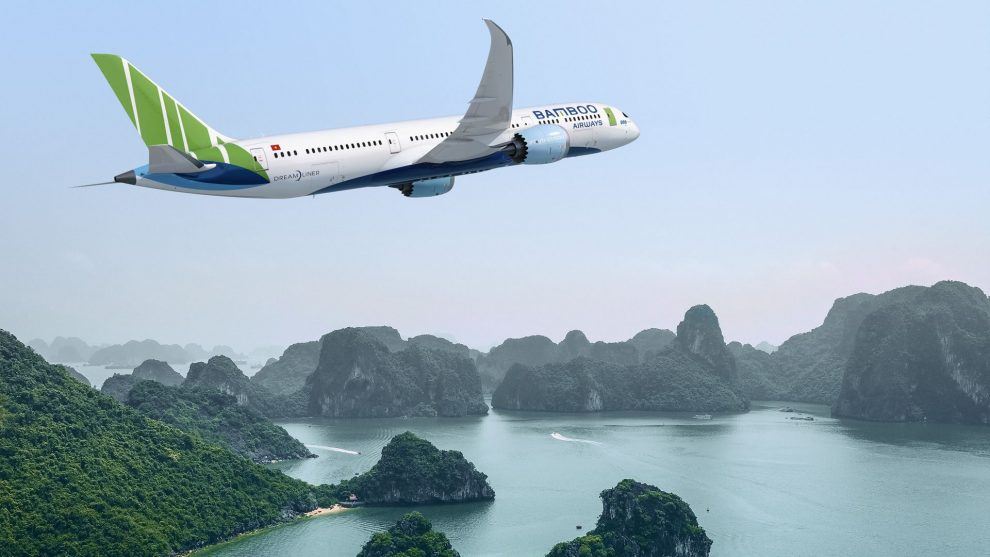 Vizualizace Boeingu 787-9 v barvách Bamboo Airways nad Ha Long Bay. Foto: Boeing