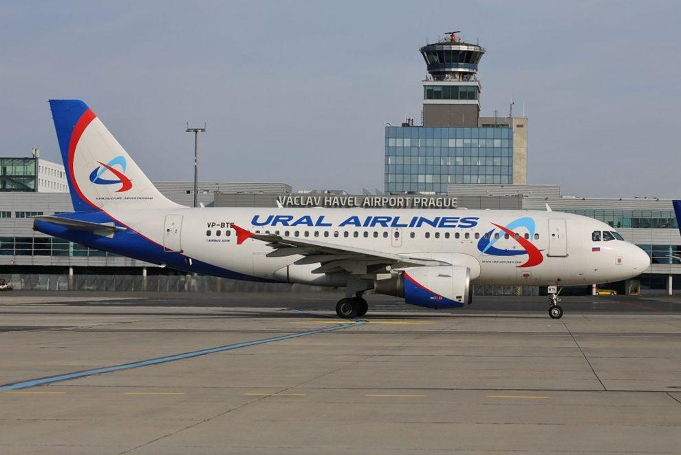 Airbus A319 společnosti Ural Airlines v Praze. Foto: Letiště Praha