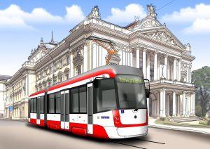 Vizualizace nové tramvaje pro Brno v obvyklém nátěru DPMB. Foto: DPMB