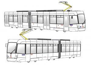 Budoucí tramvaj pro Brno bez barevného provedení pro soutěž na novou vizuální podobu. Foto: DPMB