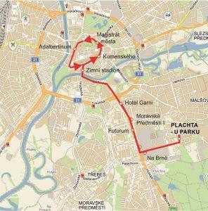 Trasa nové trolejbusové linky 21 v Hradci Králové