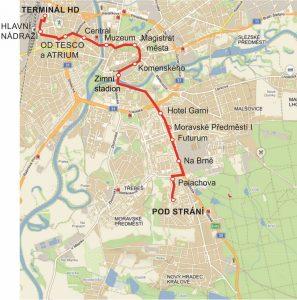 Trasa nové linky č. 4 v Hradci Králové