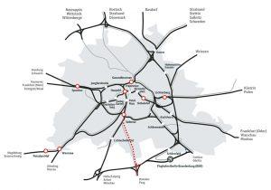 Mapa hlavních železničních tras v Berlíně. Foto: Deutsche Bahn