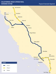 Mapa navrhovaných tras pro rychlovlaky v Kalifornii. Foto: California High-Speed Rail Authority
