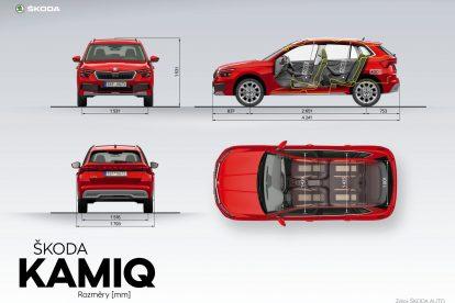Rozměry Škody Kamiq. Foto: Škoda Auto