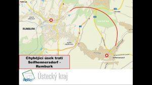 Plán na novou trať z Rumburku do Seifhennersdorfu v podání Ústeckého kraje. Foto: Ústecký kraj