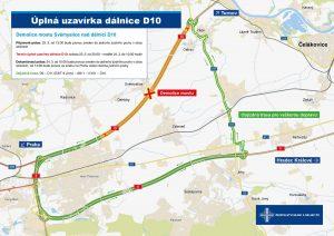 Mapa objízdné trasy při uzavírce D10. Foto: ŘSD